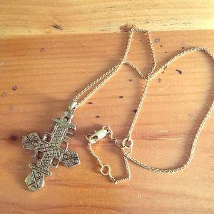 Jewelry - Ethiopian cross necklace brass o/s
